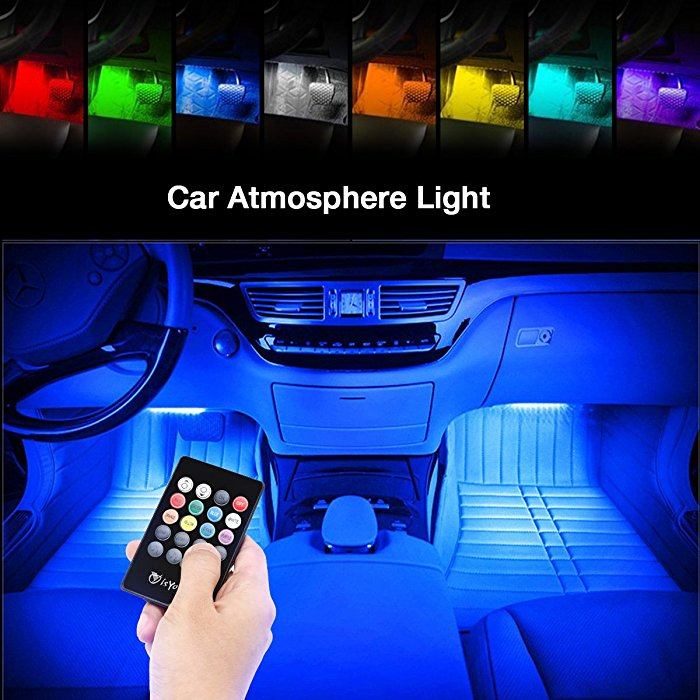 Isyoung car led strip lights led multi color music light strips color changing aloadofball Gallery