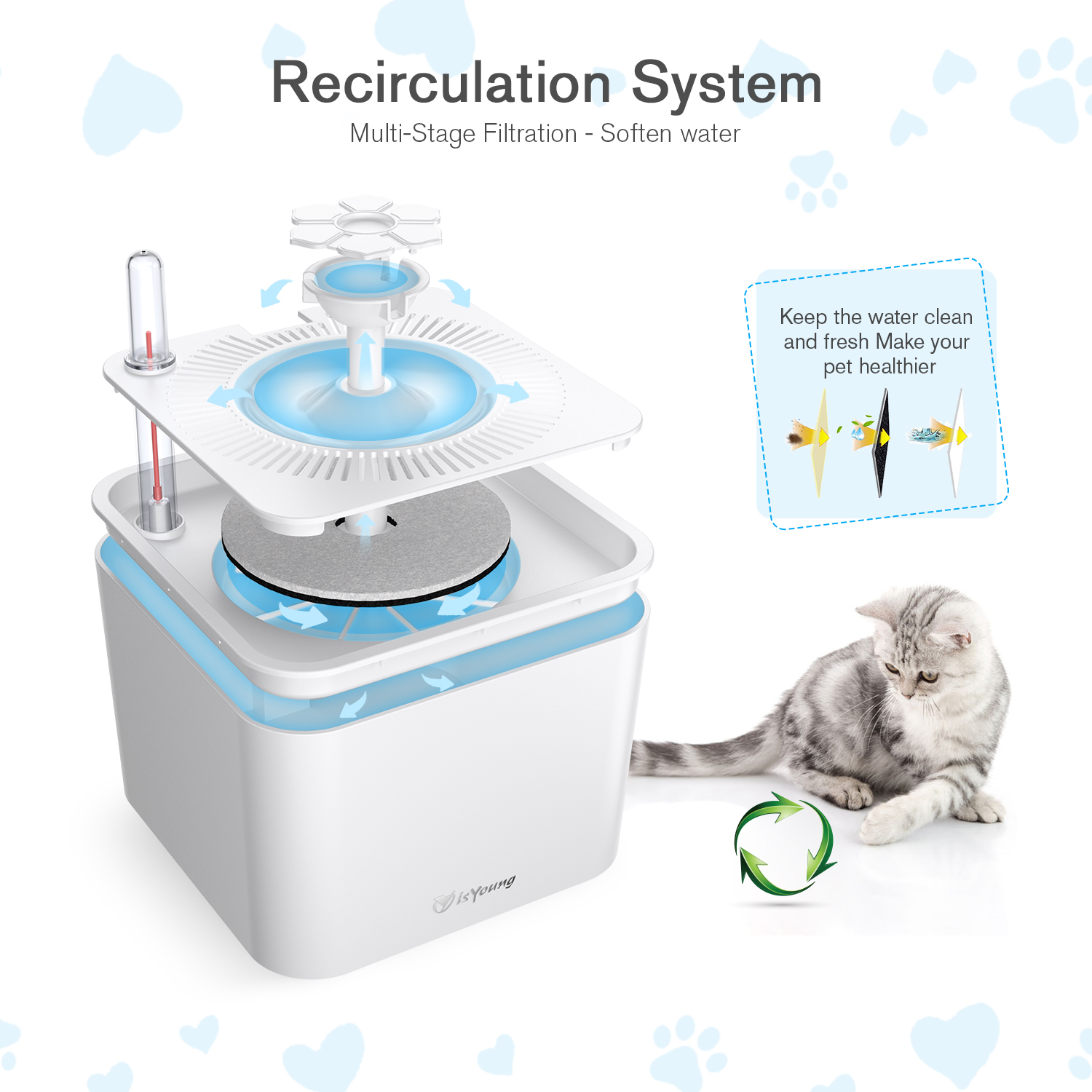Automatic Cat Puppy Dog Water Dispenser with Silicone Mat /& Cleaning Brush for Cats and Small to Medium Dogs Beirui 68oz//2L Dog Cat Water Fountain for Small Animals